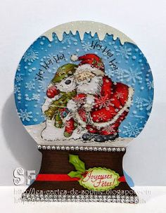 L'étampe du mois par Sophie Ephemera, Snow Globes, Christmas Cards, Creations, Santa, Scrapbooking, Tags, Simple, Holiday