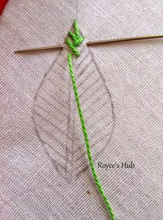 Royce's Hub: Embroidery Stitches For Leaves : Fishbone Stitch and Variations. Royce's Hub: Embroidery Stitches For Leaves : Fishbone Stitch and Variations. - Royce's Hub: Embroidery Stitches For Leaves : Fishbone Stitch and Variations. Embroidery Leaf, Embroidery Stitches Tutorial, Learn Embroidery, Silk Ribbon Embroidery, Hand Embroidery Patterns, Embroidery Techniques, Embroidery Kits, Cross Stitch Embroidery, Embroidery Tattoo