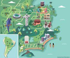 Jasmijn Evans - Illustrated map of Rio for KLM Holland Herald magazine