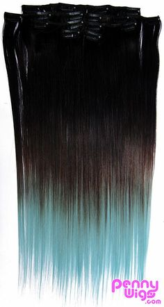 Ombré Light Blue Dip Dyed 7pcs Straight Clip-In Hair Extensions – Penny Dreads & Wigs