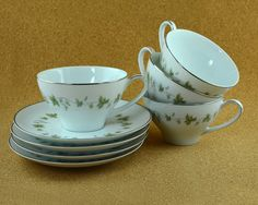 Four Noritake Lexington Cups and Saucers by TreasuryShop on Etsy, $24.00