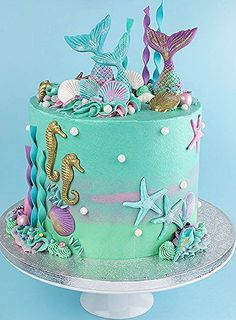 Mermaid Birthday Cakes, Birthday Cakes For Teens, Homemade Birthday Cakes, Adult Birthday Cakes, Mermaid Cakes, Bolos Pool Party, Cake Albums, Ocean Cakes, Birthday Cake Decorating
