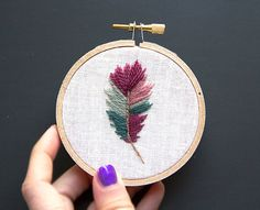 Hoop Art Feather Embroidery, Boho Wall Art, 3 inch hand-embroidered wall hanging, Dark Purple Sea Green Teal Earth Tones, Woodland Rustic