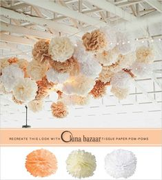 Wedding Decorations Backdrop Pom Poms Ideas For 2019 - Dresses/Vintage/Wedding. Trendy Wedding, Diy Wedding, Wedding Flowers, Dream Wedding, Wedding Poms, Wedding Ideas, Wedding Reception Decorations, Backdrop Decorations, Paper Flowers