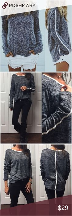 "Black and Charcoal Flecked Pullover 🌟Black and charcoal flecked, long sleeve pullover top.  🌟Trimmed in white detail.  🌟65% Rayon 35% Polyester 🌟Slight hi/low style.  🌟Also available in tan/white flecked. (See separate listing)  •XSmall:    Bust: 36"" Length: 22"" •Small:       Bust: 38"" Length: 22"" •Medium:   Bust: 40"" Length: 22"" •Large:       Bust: 42"" Length: 22""  ✨Length in back runs 2 to 3 inches longer than front length measurements listed above.✨ ❗️Price is FIRM❗️   #RF62898 Tops"