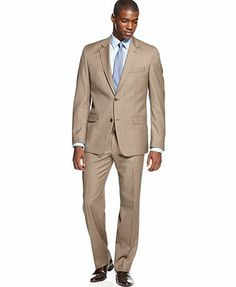 Shaquille O'Neal Light Brown Sharkskin Suit Separates Big and Tall