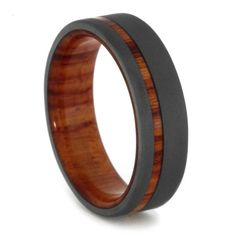 titanium ring with tulip wood custom wood wedding band with a sandblasted finish - Mens Wooden Wedding Rings