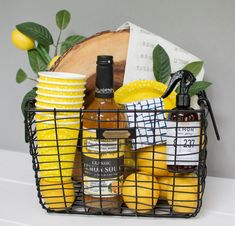 DIY Summer Gift Basket- Target Magnolia Home Finds! Lemon Theme This lemon themed Magnolia Market gift basket DIY is perfect for host gifts, thank you presents, te Summer Gift Baskets, Gift Baskets For Women, Wine Gift Baskets, Creative Gifts, Cool Gifts, Diy Gifts For Christmas, Handmade Christmas, Holiday, Themed Gift Baskets