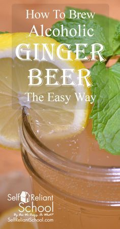 brew an alcoholic ginger beer at home - we show you the easy way and talk about some advanced tips as well.to brew an alcoholic ginger beer at home - we show you the easy way and talk about some advanced tips as well. Beer Brewing Kits, Brewing Recipes, Homebrew Recipes, Beer Recipes, Alcohol Recipes, Homemade Wine Recipes, Homemade Alcohol, Homemade Liquor, Homemade Ginger Beer
