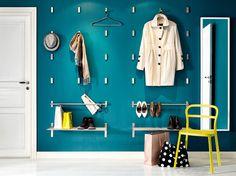 BJÄRNUM folding hooks, GRUNDTAL rails and wall shelves