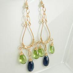Kyanite Peridot Gold Filled Chandelier Earrings-  Olga Earrings One Of A Kind
