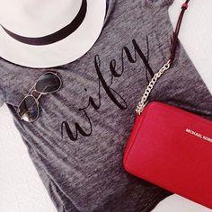 Honeymoon Wear // Aisle Perfect Wifed up // @ILY COUTURE #wifey tee // @Michael Kors cross body bag // @J.Crew Panama hat