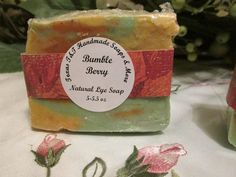 Handmade in Bryan, Texas.    Bumble Berry Natural Lye Soap. You will get one of these awesome soaps.  5.5 oz  INCI Ingredients: Olive Oil, Coconut Oil, Castor Oil, Sodium hydroxide (Lye), Distilled Water, Fragrance Oil        Palm Oil    Soap made with pa