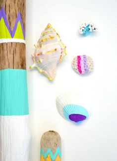 Painted shells and sticks