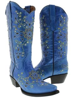 designer cowboy boots | Womens Cowboy Boots Ladies Leather Rhinestone Crystal Rodeo Dance ~ Another blue and yellow pair