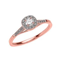 Dainty 14k Rose Gold Cushion Shape Halo Diamond Engagement Milgrain Design Ring Size 9 -- Be sure to check out this awesome product.