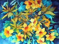 """New Painting.....Art Original Watercolor Painting Tropical Hawaiian """"ALAMANDAS"""""""