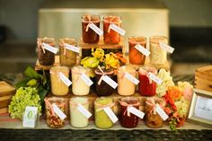 Sauces + Condiments Served in #MasonJars I Culinary Crafts  I See more @WeddingWire I #weddingfood #condiments