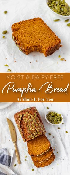 The ULTIMATE pumpkin bread! That just happens to be dairy-free! Double the recipe, make two loaves and thank me later! Gluten Free Quick Bread, Gluten Free Pumpkin Bread, Healthy Pumpkin Bread, Savory Pumpkin Recipes, Vegan Pumpkin Pie, Quick Bread Recipes, Fun Baking Recipes, Easy Bread, Delicious Recipes