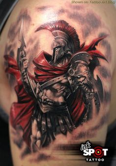 Home - tattoo spirit - Artist: Tom Michael. Greek mythology describes the stories of ancient gods, heroes and mythical cre - Warrior Tattoos, Badass Tattoos, Body Art Tattoos, Sleeve Tattoos, Tattoo Art, Angel Warrior Tattoo, Viking Tattoos, Tattoo Pics, Skull Tattoos