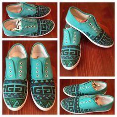 Aztec Shoes Crazy Shoes, On Shoes, Shoe Boots, Aztec Shoes, Sharpie Shoes, Tie Dye Shoes, Decorated Shoes, Hand Painted Shoes, Sewing Lessons
