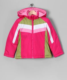 Take a look at this Berry Pink & Lime Puffer Coat - Girls by Ultimate Apparel on @zulily today!