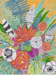 Tropical flower garden printable flower art by ArtontheMoonstudio