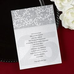 Friends and family will love this fun shimmer invitation card for your twenty fifth anniversary. The number 25 is featured throughout the invitation highlighting wonderful years of marriage.