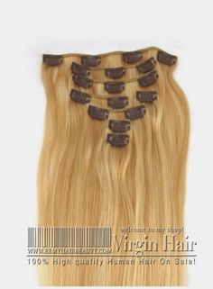 8PCS Clip In Human hair extensions Mixed Color #27/#613 Straight