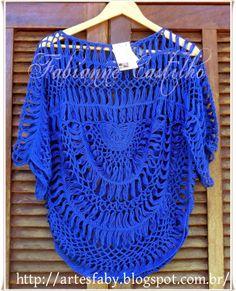 Crochet T Shirts, Crochet Poncho, Love Crochet, Crochet Clothes, Knit Crochet, Hairpin Lace Crochet, Crochet Motif, Crochet Stitches, Crochet World