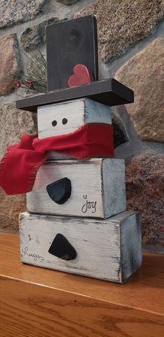 Big Wood Block Snowman, Snowman blocks, Wood snowman, Big Snowman, Snowman, Wood blocks, Rustic snowman