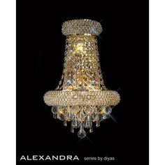 Diyas Alexandra French Gold Wall Light - W. Gold Wall Lights, Ceiling Lights, Crystal Wall, Gold Walls, Chandelier, French, Crystals, Lighting, Home Decor