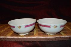 2 Vintage Asian Porcelain Serving Bowl Pink Band w/ Floral Trim