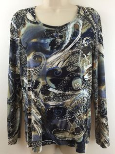 Chicos 2 Top Paisley Print Stretch #Rayon Blue Brown Long Sleeve Blouse 12/14 #Chicos