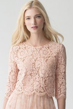 Kinley Top by Jenny Yoo new for Blush, rose, soft pink lace top with a scallop edge. Wedding and ready to wear separates. Event Dresses, Bridal Dresses, Tea Length Bridesmaid Dresses, Pink Lace Tops, Wedding Dress Shopping, Blouse Designs, Designer Dresses, Ideias Fashion, Marie