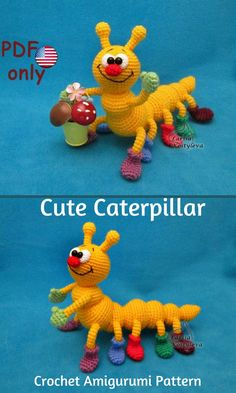 This cute little Caterpillar is a sweet crocheted amigurumi doll that would love to crawl around your house. I live his little boots! You can create your own Caterpillar with this downloadable pattern. #crochet #amigurumi #crochetdoll #ad #amigurumidoll #amigurumipattern #caterpillar #instantdownload