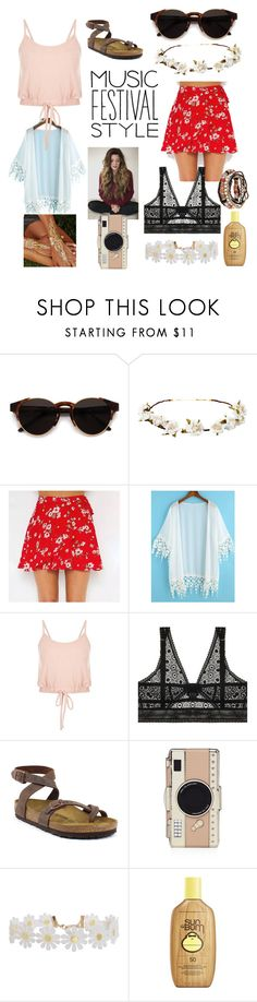 """""""Festival look set 1"""" by aforartist ❤ liked on Polyvore featuring RetroSuperFuture, Cult Gaia, ELSE, Birkenstock, Kate Spade, Humble Chic and Sun Bum"""