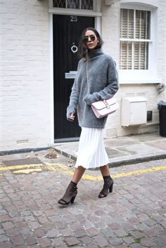 Cozy Outfit from carelle-style with Ray-Ban Sunglasses, Valentino Shoulder Bags, ASOS Skirts, Missguided Sandals, P. Bad Fashion, Fashion Week, Fashion Outfits, Trendy Fashion, Fashion Ideas, Jumper Outfit, Socks And Sandals, Heels Outfits, Pleated Midi Skirt