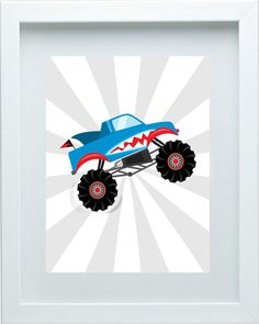 Monster Truck Decor Nursery Art Custom Print Red by FMDesignStudio, $15.00