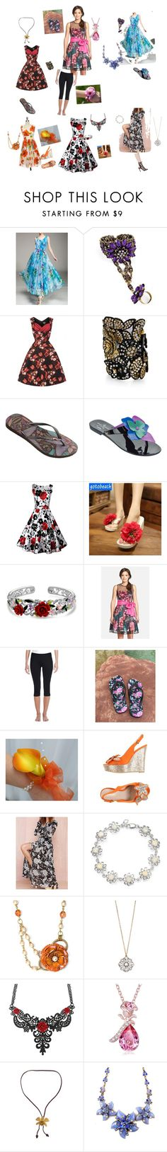 """""""Romantic Flower Collection"""" by mahayla-huff ❤ liked on Polyvore featuring Havaianas, Vivienne Westwood Anglomania + Melissa, Sunset Hours, Bling Jewelry, Eliza J, Clementine, PrimaDonna, Aéropostale, NOVICA and women's clothing"""