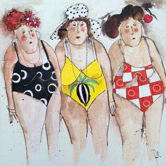 Cecile Colombian - Holiday World Art Fantaisiste, Plus Size Art, Whimsical Art, Beach Art, Portrait Art, Painting Inspiration, Art Girl, Watercolor Paintings, Watercolor Ideas