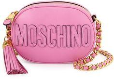 Moschino Tassel Shoulder Bag w/Chain Strap, Pink