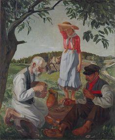 FIGURĀLĀ KOMPOZĪCIJA Kārlis Miesnieks. Dienišķā maize. 1929. Audekls, eļļa. 176x146. VMM GL-2718. Latvijas Nacionālā mākslas muzeja kolekcija.
