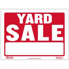 """States """"Yard Sale"""" in white and has a red backing Durable plastic, weatherproof Bright and highly visible 9 inch x 12 inch yard sale sign"""