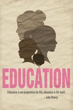 Decorative education poster with quote and female silhouettes