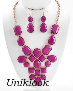only 22.99$ Bubble Design Gold Fuchsia Acrylic Bib Statement Jewelry Necklace Earring Set @Uniklook Jewelry Jewelry.com #fashion jewelry online store