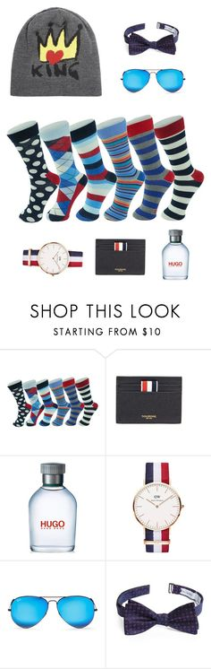 """socks for real men"" by larisa-mushinskaya on Polyvore featuring Alpine, Thom Browne, HUGO, Daniel Wellington, Ray-Ban, Calibrate, Dolce&Gabbana, men's fashion и menswear"