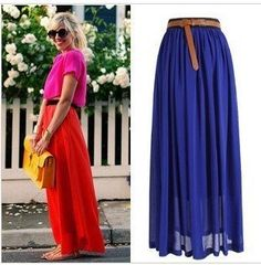 Original Manufacturer 2014 Fashion Bohemian Princess pleated Skirt 16 Colors Amazing Chiffon Long Skirt Only High Quality AS 8E-in Skirts from Apparel & Accessories on Aliexpress.com