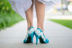 Wedding Shoes - Blue Wedding Shoes with Ivory Lace. on ETSY