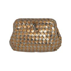 Woven Metallic Bronze and Embossed Gold Lizard calfskin Evening Clutch | From a collection of rare vintage handbags and purses at http://www.1stdibs.com/fashion/accessories/handbags-purses/
